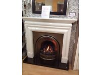 Cleveland Marble Fireplace, Cast Insert, Hearth & Gas Fire