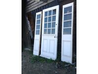 Reclaimed 1930's External Door with Side Panels containing Obscured Glass