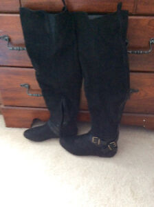 Black thigh high boots size 8.5W $45