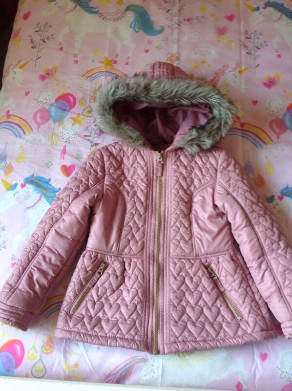 Girls Pink Quilted Winter Coat / Jacket