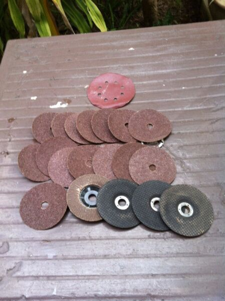 Sandpaper disc for use with power drill $5 and Rubber backing each piece $3.