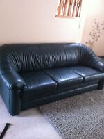 couch and chair - forest green leather