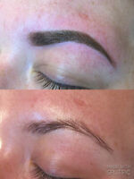 Permanent makeup, powered eyebrows, semi permanent