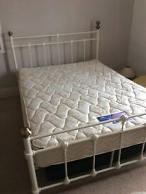 White metal double bed with Mattress