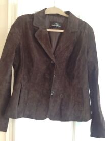 Brand new dark brown suede leather jacket