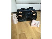 Storksak Kate black patent changing bag