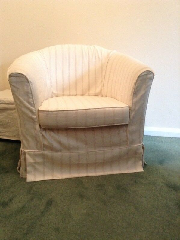 Ikea Cream Tub Chair and Footstool with Cover