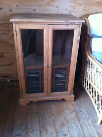 Solid waxed pine music cabinet