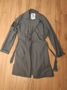 Olive belted trench coat