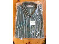 Antonio Vitali Green striped shirt. 17 collar. Unworn still in packaging.
