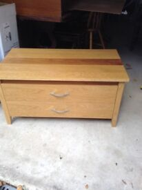 TV and media unit, pine effect, rear storage.