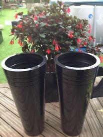 Pair of zinc galvanised pewter tall cone planters