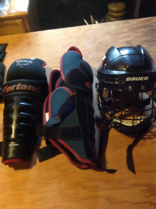 Youth shin pads and helmet