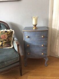 Blue grey wood chest drawer bedside