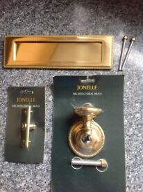 Brass letter plate,door knob and bell push