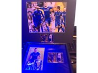 Chelsea football club Gary Cahill autograph and Match worn relic card by tops framed mounted