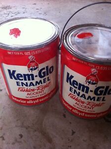 Two gallons of red oil paint