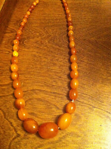 Baltic amber egg yoke necklace