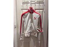 Puma Track Jacket Womens 10UK Used - White & Red