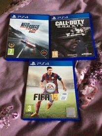 PS4 cod ghosts,nfs rivals,FIFA 15