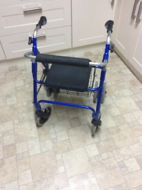 Foldable 4 wheel rollator walking aid frame