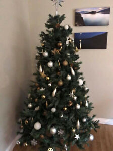 Fake Christmas Tree with Gold and Silver ornaments