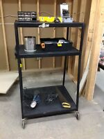 Wheeled Garage Tool Shop Carts with power bar and cord