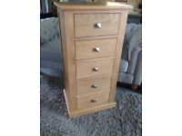 Oak Chest 5 Drawers Slim Jim Tall Boy ✔️Brand New ✔️Free Local Delivery