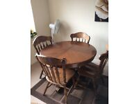 Wooden Dining table (Extender) with 4 Chairs