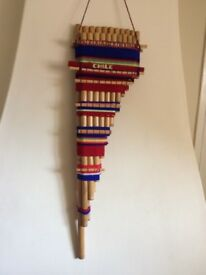 GENUINE SOUTH AMERICAN DOUBLE BAMBOO PAN PIPES/FLUTE 21 PIPES FABULOUS DISPLAY ITEM PERFECT COND.