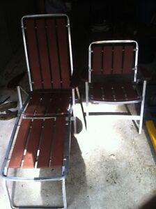 Aluminium & Wooden Lounger and Chair