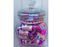 PRETTY GLASS JAR HEART FILLED RETRO SWEETS LOVE HEARTS WEDDING MOTHERS DAY VALENTINES GIFT PRESENT