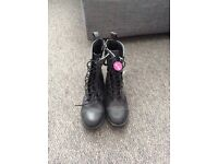 Black Flat Lace-Up Ankle Boots - BRAND NEW