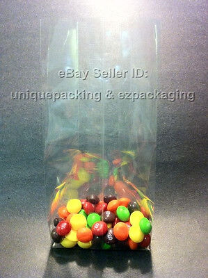 100 Pcs 4x2x8 Clear Side Gusseted Poly Cello Bags Good For Candy Cookie Bakery