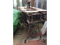 Antique singer sewing machine/table