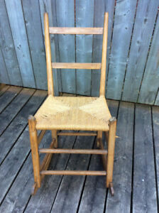 Rare Canadiana rocker with woven rope seat