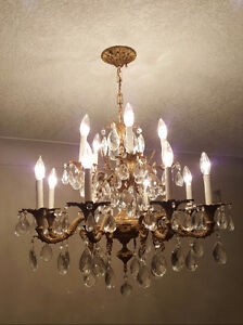 Two-Tier Brass and Crystal Chandelier