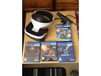 PlayStation 4 virtual reality headset,camera and four games.