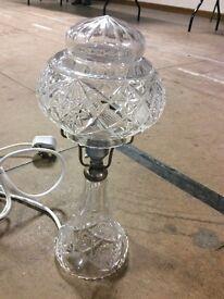 Lovely art deco cut glass mushroom lamp (num2) good condition £120