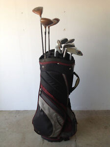 Men's right-handed golf clubs with bag. No putter.