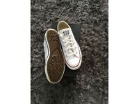 White full leather converse all stars size uk 4
