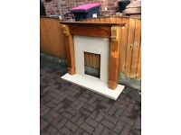 Wooden fire surround with marble back & hearth