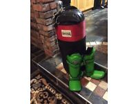 Lonsdale punch bag and Top King shin guards