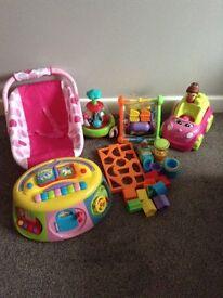 Bundle of baby toys mega block car....