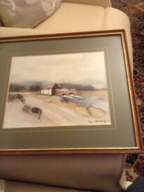 Framed Water painting by Hugh Brandon-Cox