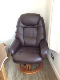 Faux leather recliner chair with foot stool