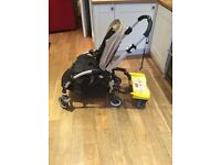 Bugaboo bee beige 3 years old with rain-cover, lascal buggy board and blue foot muff