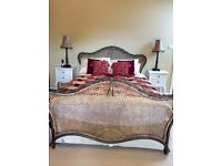 King size Bed. Beautiful Harrods Rattan and Iron King Size Bed Frame.