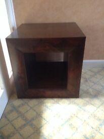 Pair of dark wooden cubes