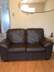 Leather 2 seater sofa and 2 armchairs